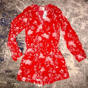 H&M Red Floral Long Sleeve Shorts Romper